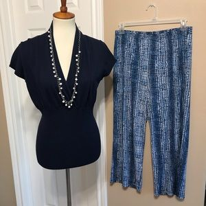 2 pc outfit wide leg pants &semi fitted top large